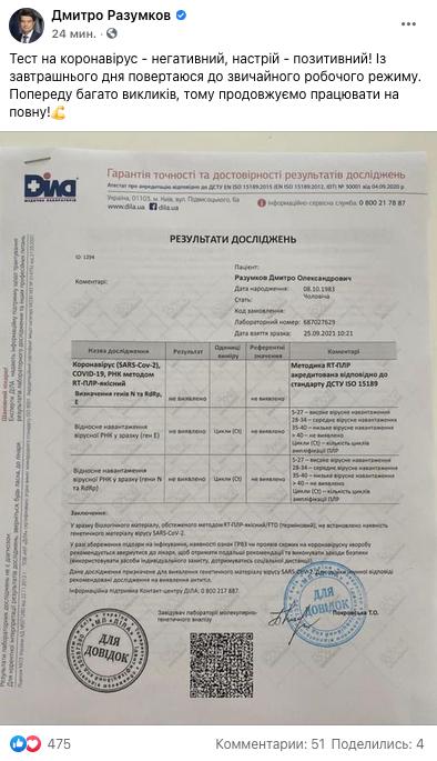 Раузмков выздоровел от коронавируса. Фото: facebook